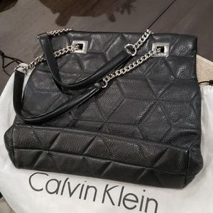 Calvin Klein Black  Pebble Leather Tote Bag
